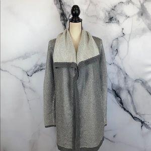 ANN TAYLOR gray wool blend cardigan sweater coatigan size medium